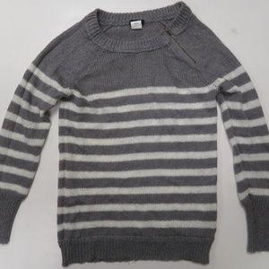 J Crew Chalet Stripe Zip Crew Neck Gray Sweater